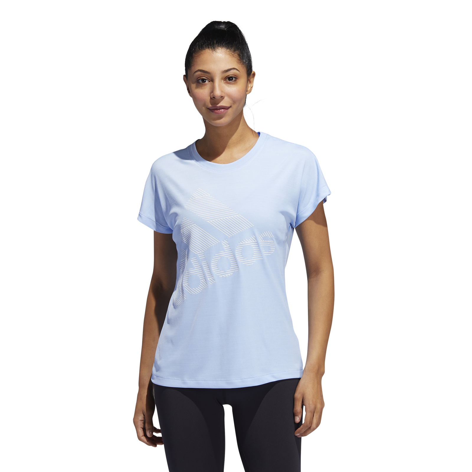 adidas Performance Damen Sport T Shirt Badge of Sport T Shirt glow blue